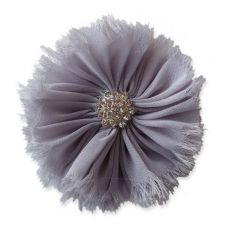 8cm Frayed Diamante GREY Fabric Flower Applique